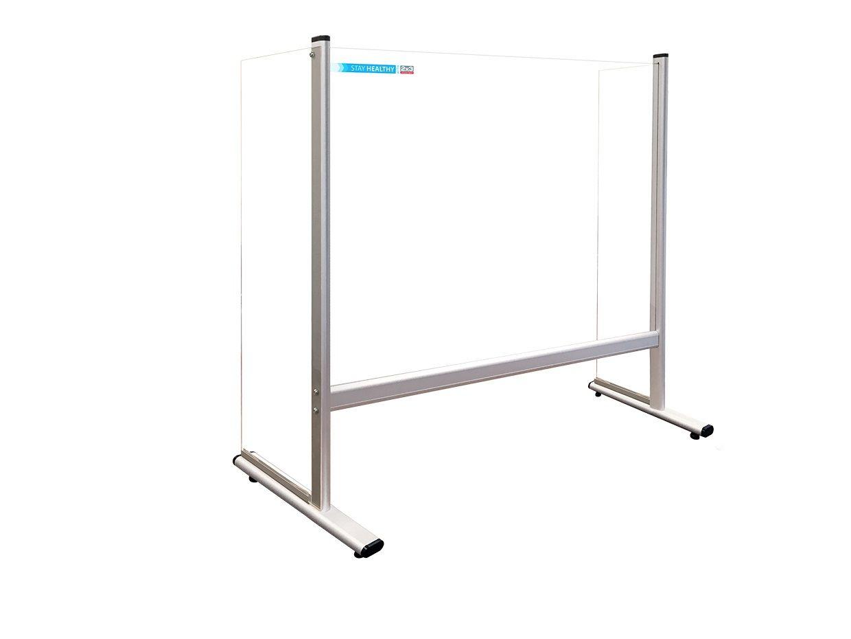 Bezpečnostní stolní dělící plexi stěna s bočnicemi 100 x 65 cm 2x3