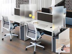 Dělící plexi stěny s úchyty pro oddělení pracovních míst 120 x 60 cm 2x3