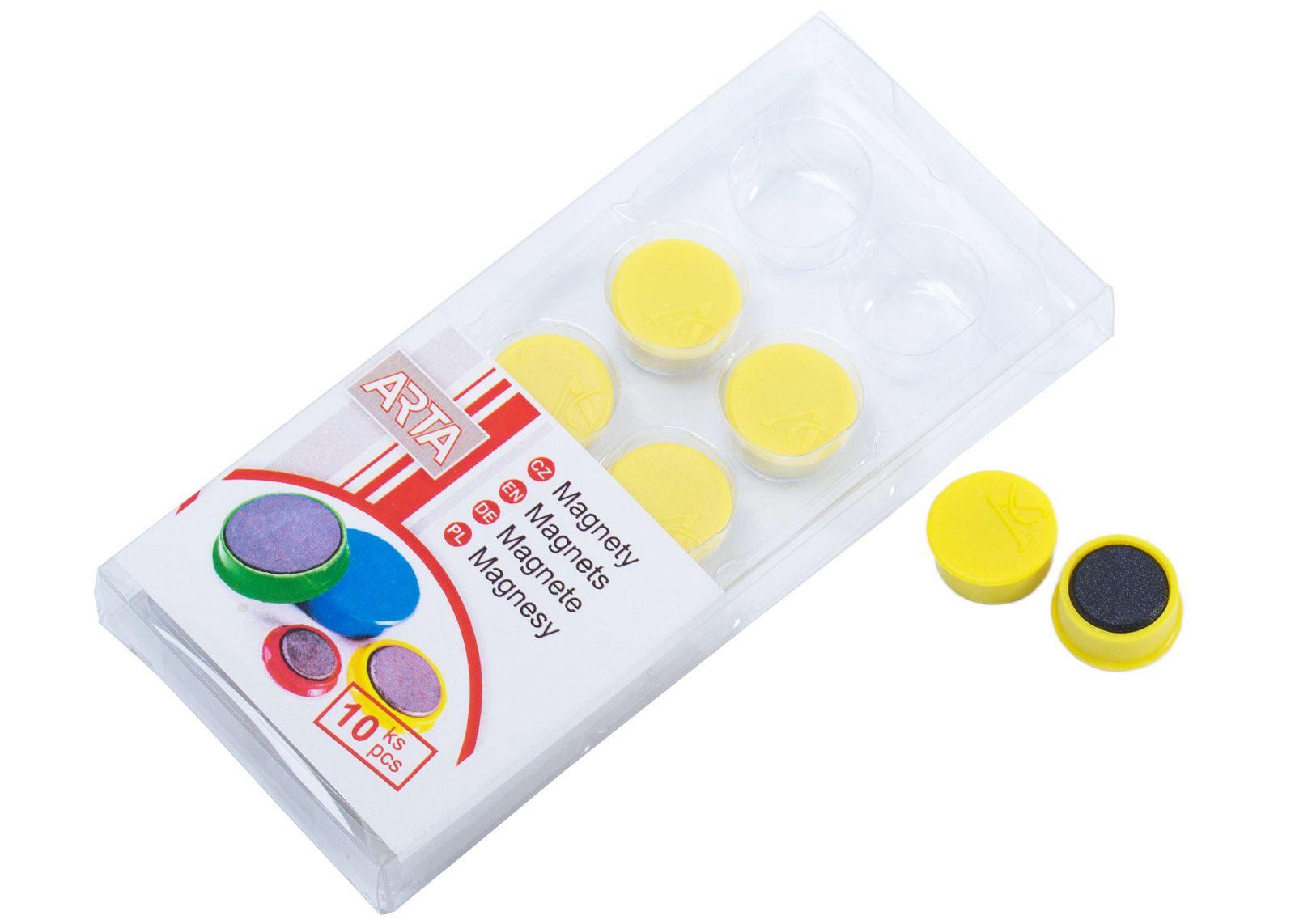 Magnety ARTA průměr 16mm, žluté (10ks v balení)