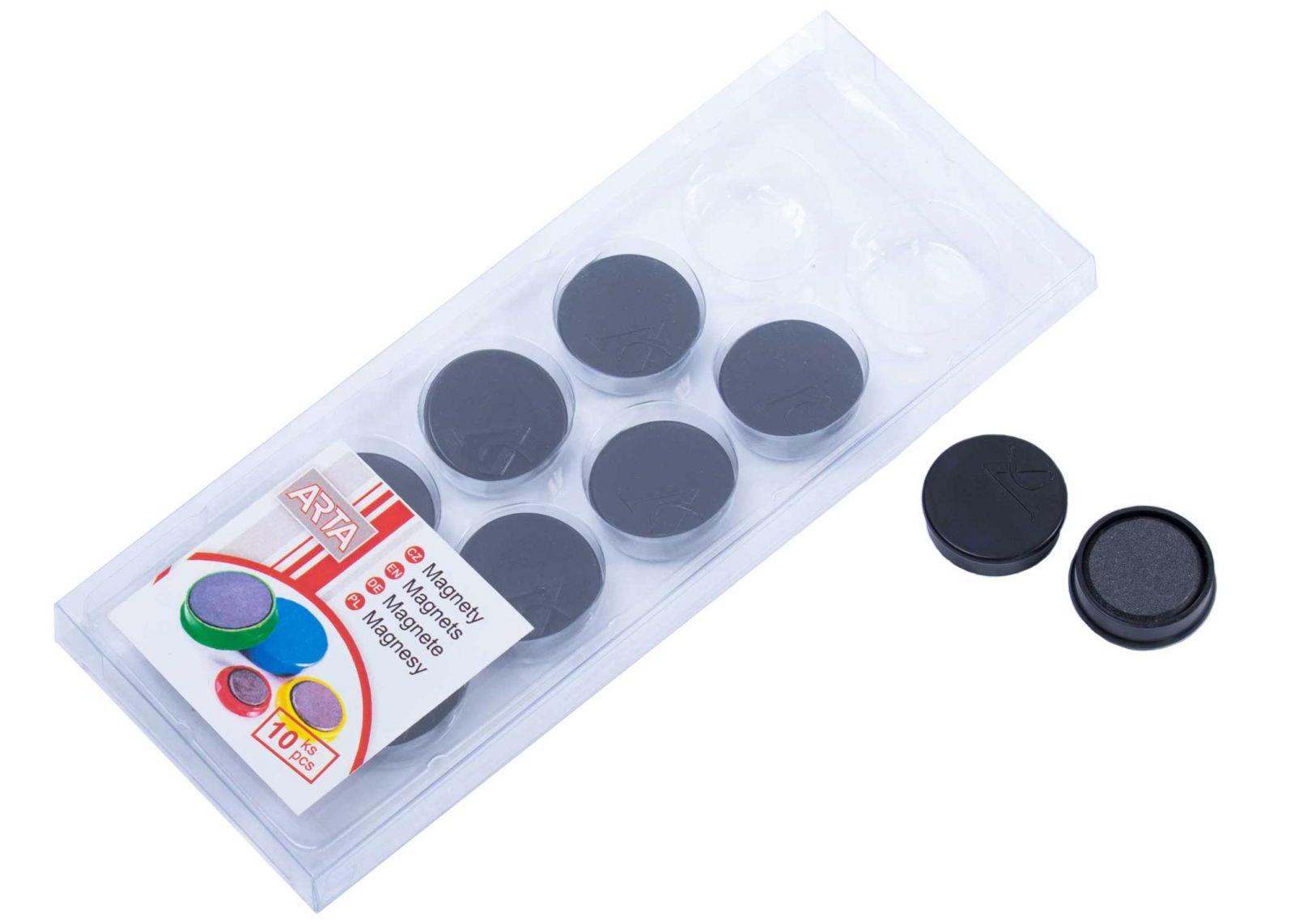 Magnety ARTA průměr 25mm, černé (10ks v balení)