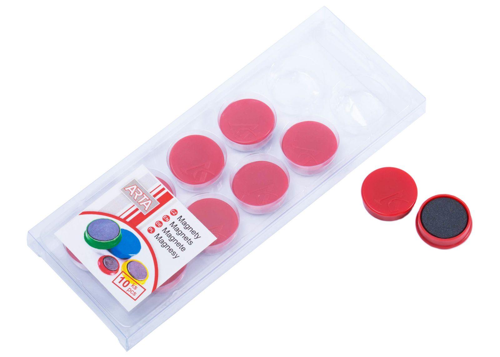 Magnety ARTA průměr 25mm, červené (10ks v balení)