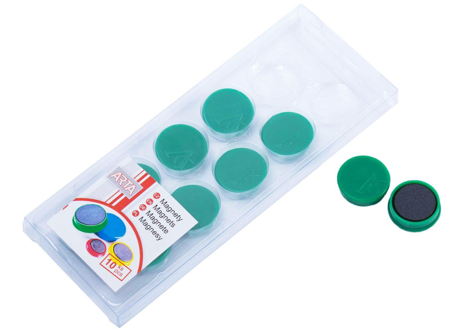 Magnety ARTA průměr 25mm, zelené (10ks v balení)
