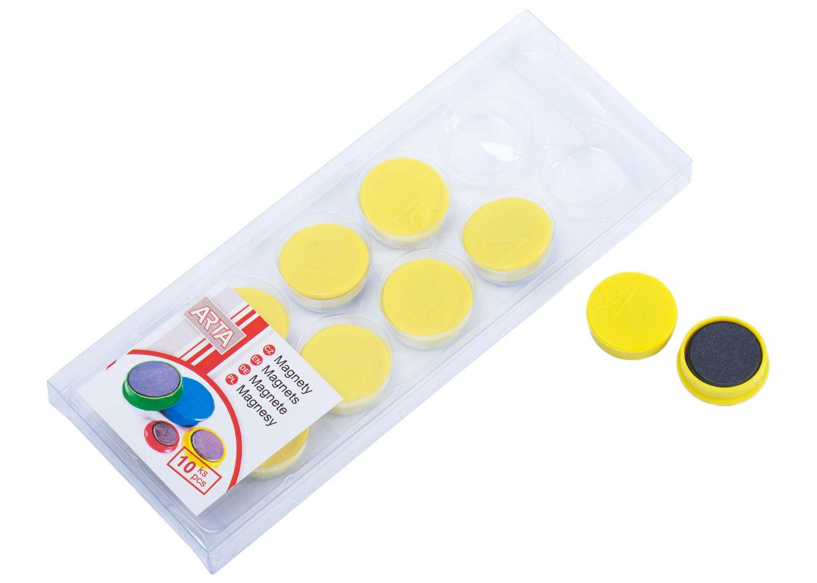 Magnety ARTA průměr 25mm, žluté (10ks v balení)
