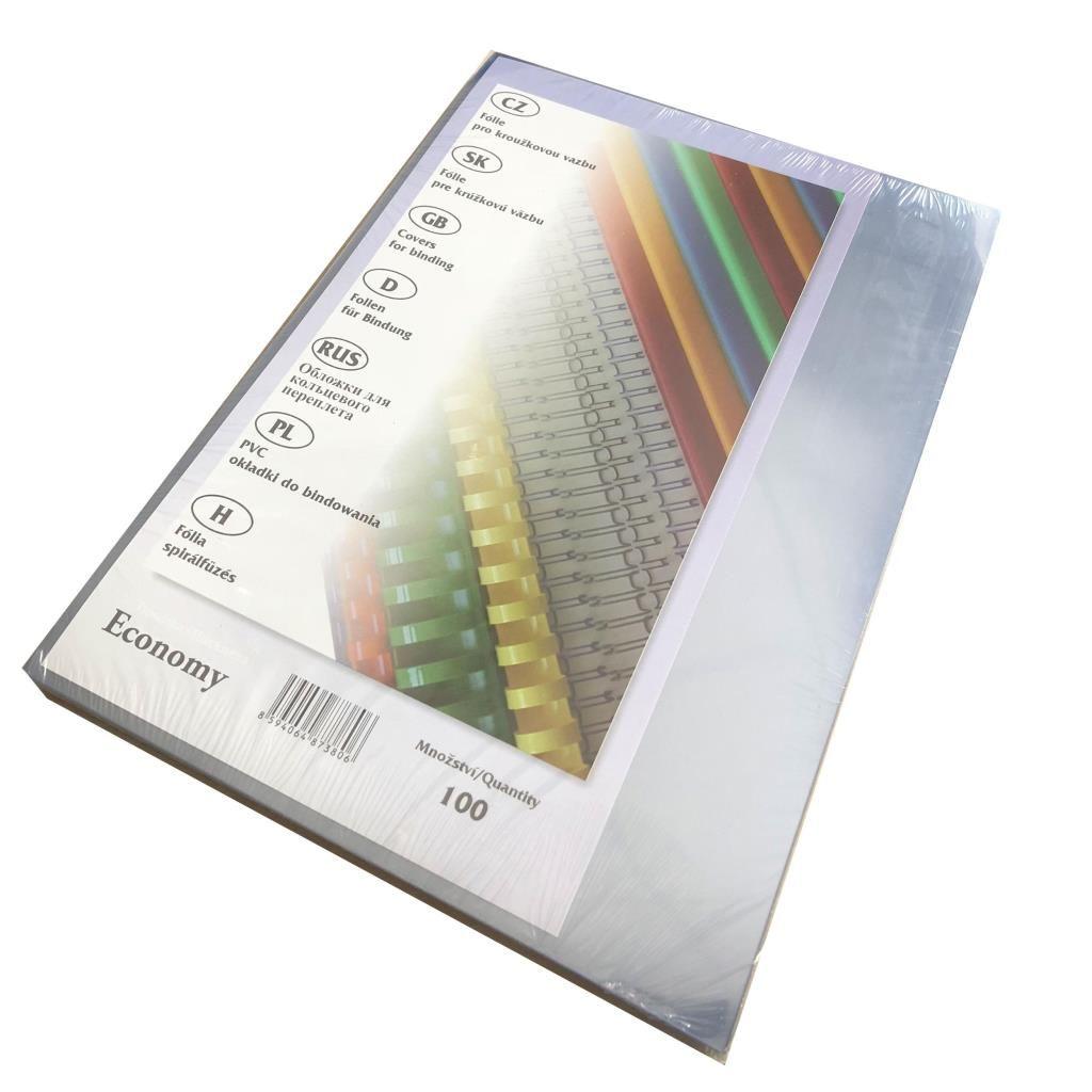 Čiré lesklé přední desky Economy pro vazbu, A4