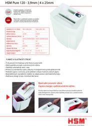 Skartovací stroj HSM Pure 120 3,9 mm