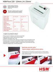 Skartovací stroj HSM Pure 220 3.9 mm