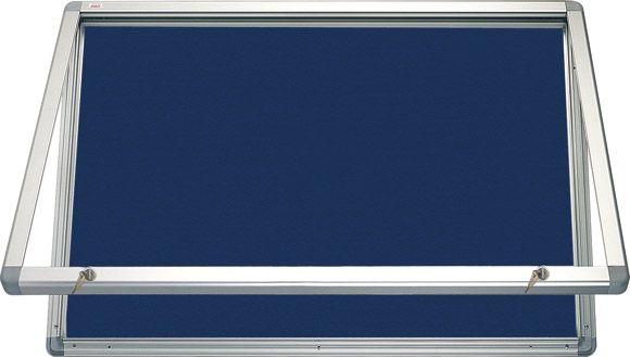 Horizontální vitrina 120x90cm, zámek, filcový vnitřek - modrý 2x3