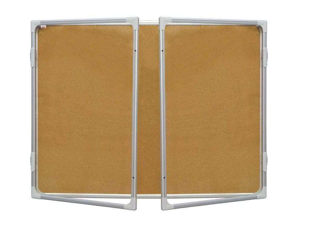 Korková vitrína s dvoukřídlým vertikálním otevíráním 120x180cm, model 2 2x3