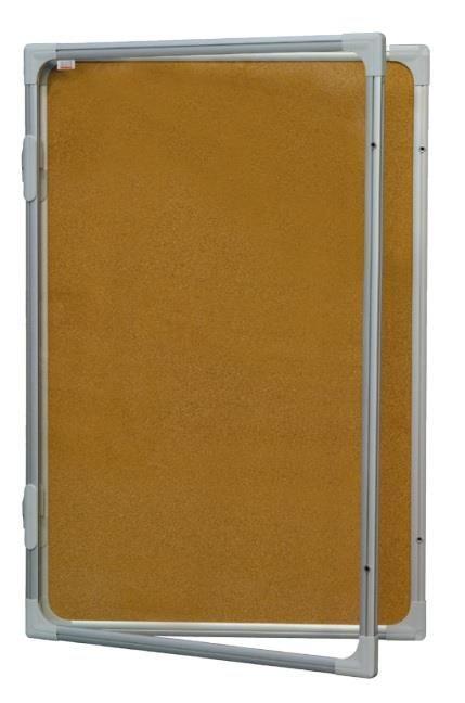 Korková vitrína s vertikálním otevíráním 120x90cm, model 2 2x3