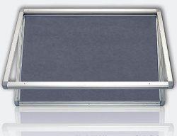 Vitrína s horizontálním otevíráním, výplň šedý filc 90x120 cm
