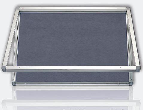 Vitrína s horizontálním otevíráním, výplň šedý filc 90x120 cm 2x3