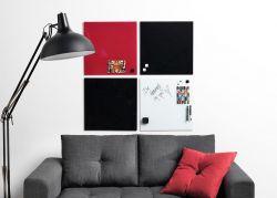 Skleněná magnetická tabule 45x45 cm - červená 2x3