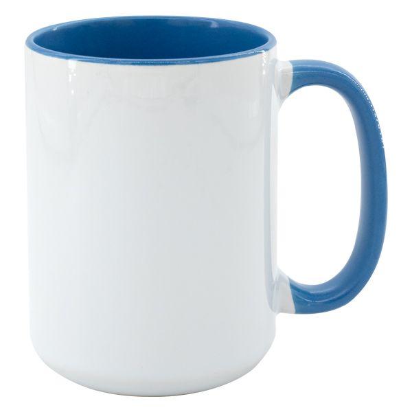 Hrnek MAX 450 ml - barevný vnitřek a ucho - barva modrá