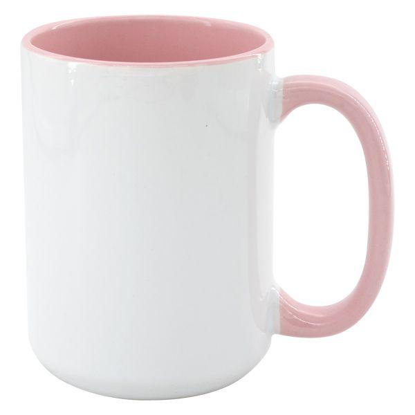 Hrnek MAX 450 ml - barevný vnitřek a ucho - barva růžová