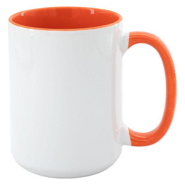 Hrnek MAX 450 ml - barevný vnitřek a ucho - oranžová
