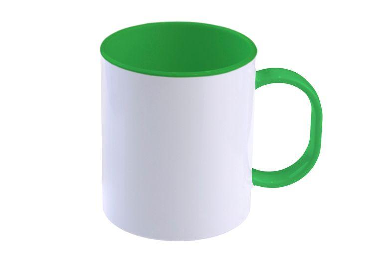 Hrnek polymerový 11 Oz s barevným vnitřkem a uchem - světle zelený