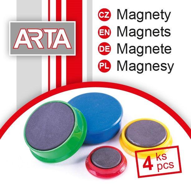 Magnety ARTA průměr 40mm, černé (4ks v balení)