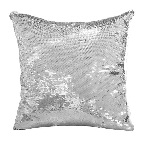 Polštář s flitry 40 x 40 cm stříbrno-bílá